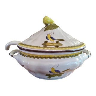 Vintage Cantagalli Firenze Faience Italian Majolica Bird of Paradise and Lemon Soup Tureen For Sale