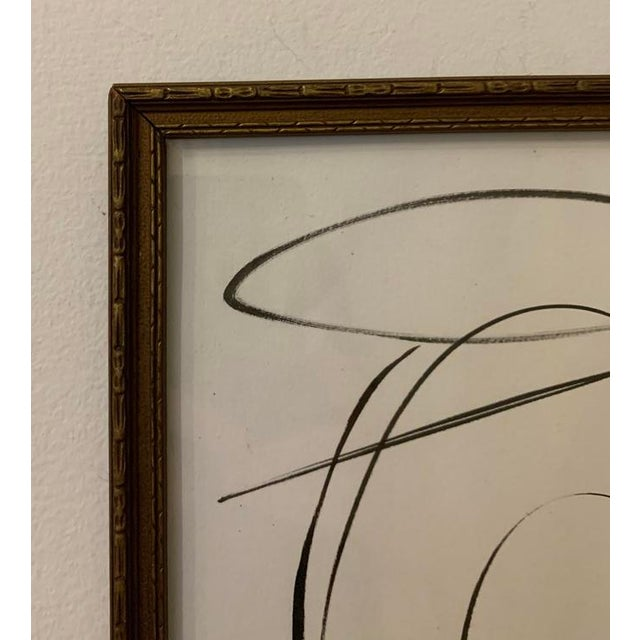 This original black ink painting is inspired by the mid-century masters. Framed in a vintage gold frame, 9 in. wide x 11...