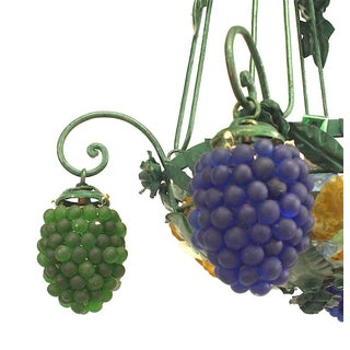 Italian Murano Glass and Painted Metal Grape Cluster Chandelier Preview