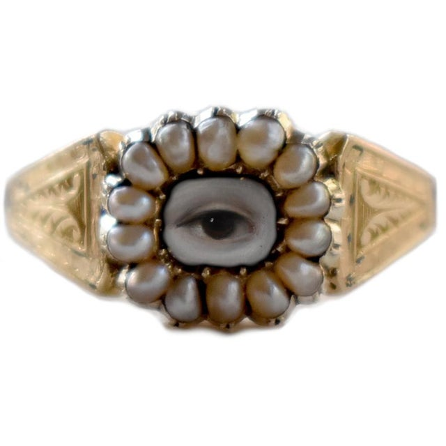 Metal 19th Century Lover's Eye Victorian Seed Pearl Ring For Sale - Image 7 of 7