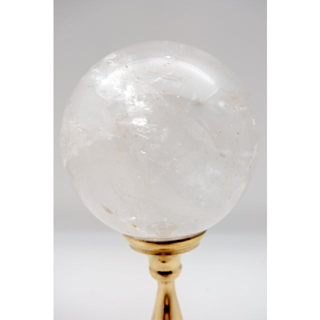 Contemporary Brass Mounted Rock Crystal Sphere Large For Sale - Image 3 of 6