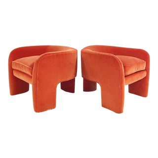Mid Century Vladimir Kagan Armchairs in Loro Piana Orange Velvet With Sheepskin Rug - a Pair