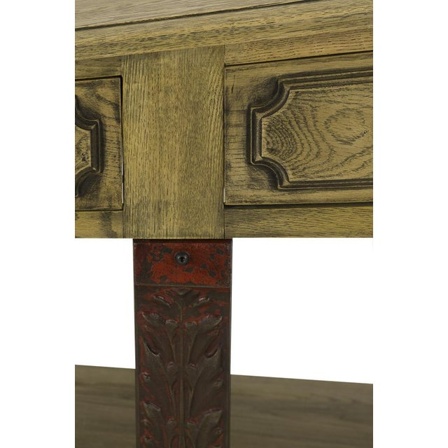 Rustic Antique Oak Barley Console For Sale - Image 3 of 6