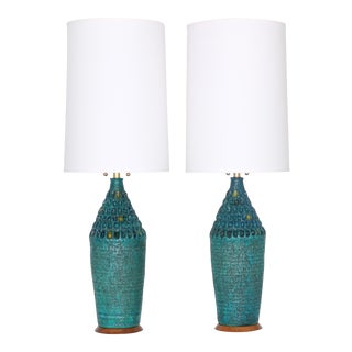 Mid Century Modern Quartite Creative Corp. Brutalist Style Turquoise Lamps - a Pair For Sale
