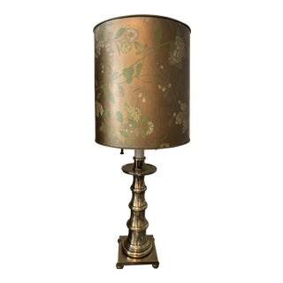 1960s Stiffel Brass Faux Bamboo Table Lamp W/Original Bronze Stiffel Shade For Sale