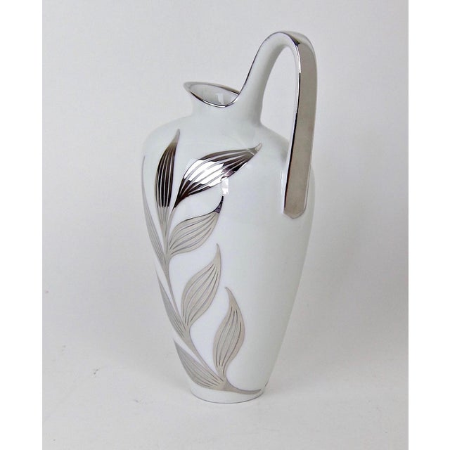 Heinrich & Co. 1960s Mid-Century White Porcelain Pitcher With Silver Metal Overlay For Sale - Image 4 of 8