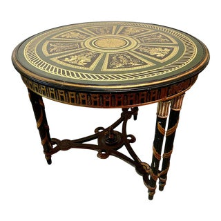 Hollywood Regency French Neoclassical Style Églomisé Center Table, End Table For Sale