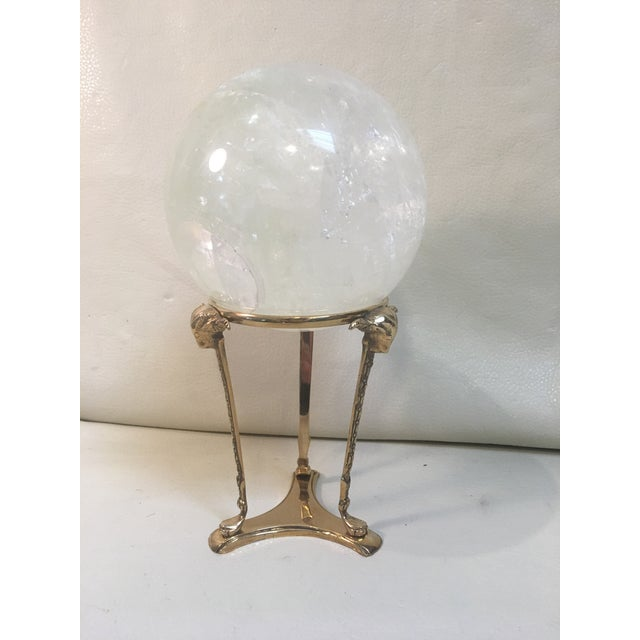 Selenite Orb on Brass Stand For Sale - Image 9 of 9