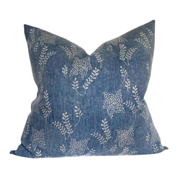 Aida Floral Pillow Cover in Aurora Blue For Sale