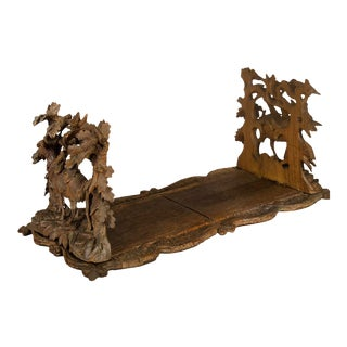 Carved Wood Bookends With Mountain Goats Swiss 1900 For Sale