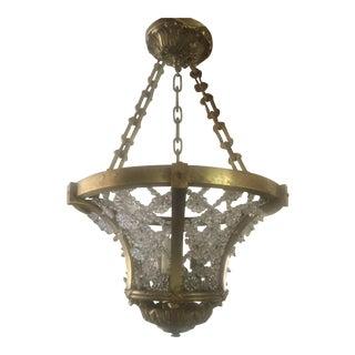 Antique Gilt Bronze Maison Bagues Beaded Crystal Chandelier, 1920s French Art Deco For Sale
