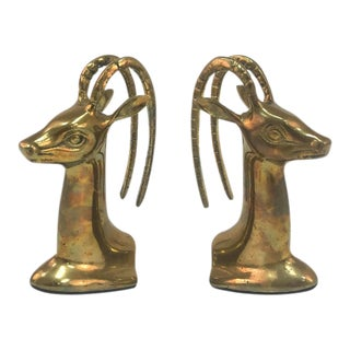 Brass Gazelle Bookends - A Pair For Sale