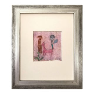 Vintage Abstract Figurative Expressionist Pastel Drawing For Sale