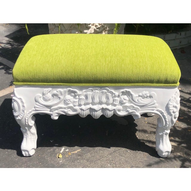 Charles Pollock Charles Pollock Hollywood Regency Chartreuse Velvet Ottoman Footstool Bench For Sale - Image 4 of 4