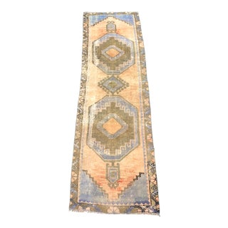 1960s Vintage Aztec Faded Antique Decorative Turkish Anatolian Wool Hallway Runner-2′6″ × 8′9″ For Sale