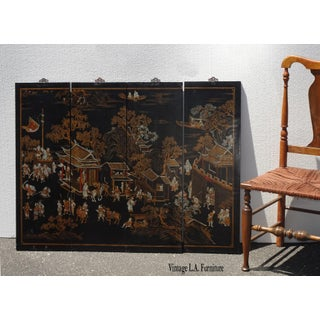 Antique Oriental Asian Black Four Screen Panel Picture Screen ~ Chinese Japanese Preview