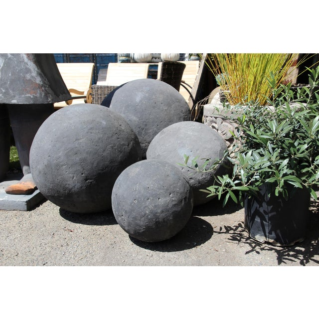 Black Stone Garden Sphere X-Large For Sale - Image 4 of 5