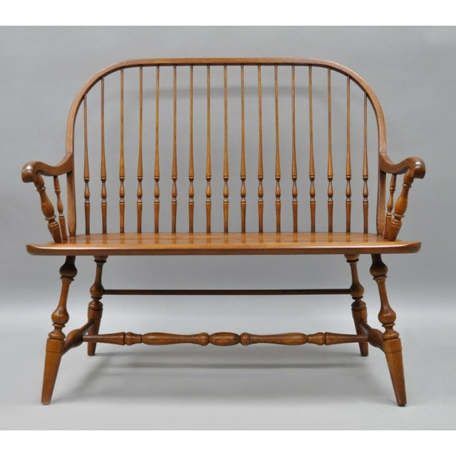1980s Vintage H.C. Co Solid Oak Wood Windsor Colonial Style Spindle Back Bench For Sale - Image 9 of 9