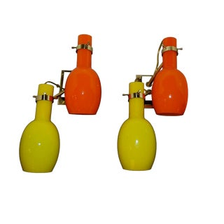 Stilnovo Sconces With Orange and Yellow Murano Glass Shades — a Pair For Sale