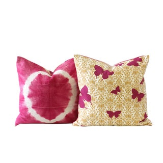 Pink and Yellow Butterfly Down Pillow