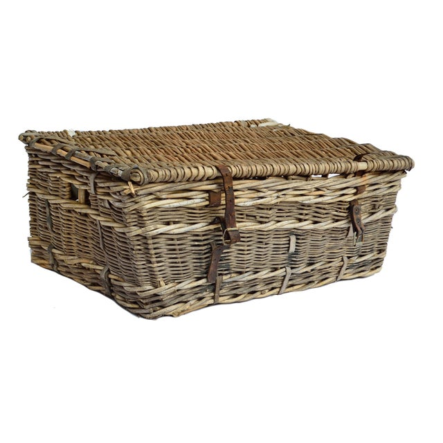 French Willow and Leather Trunk - Image 1 of 4