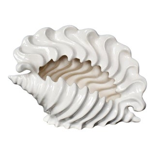 Mid 20th Century White Ceramic Conch Shell Planter For Sale