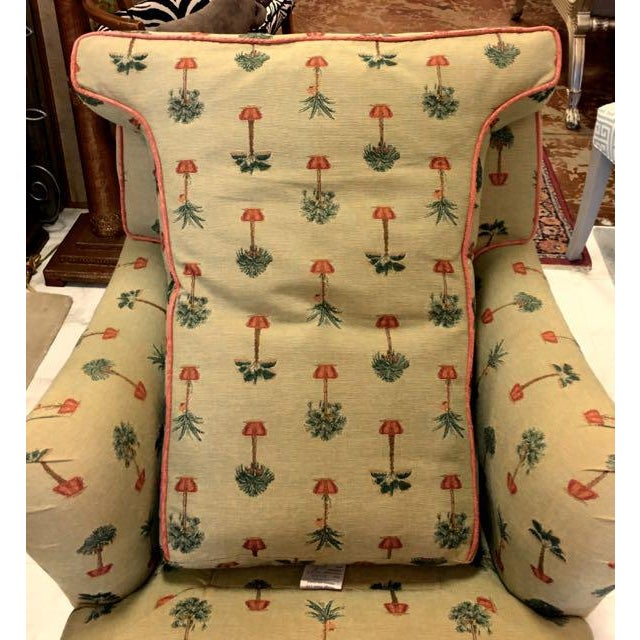 Fabric Traditional George Smith Yellow Upholstered Printed Club Chair For Sale - Image 7 of 11