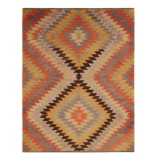 Vintage Mid-Century Mut Diamond Multicolor Wool Kilim Rug- 5′6″ × 6′10″ For Sale
