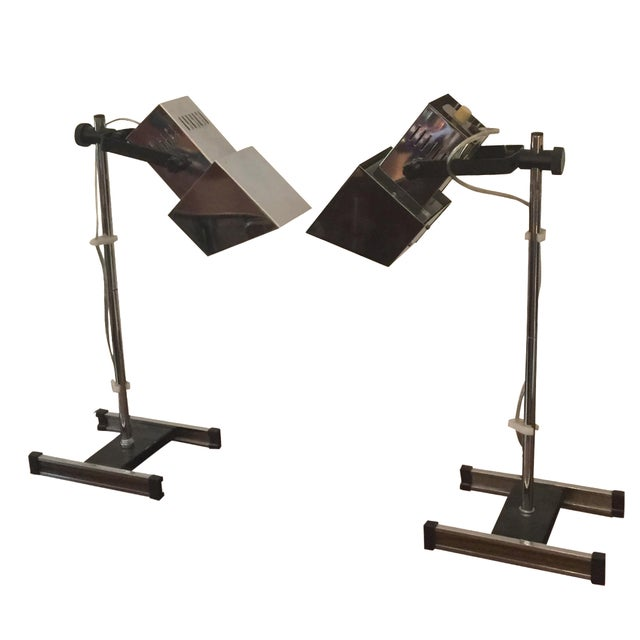 1960s Architectural Chrome Desk Lamps - A Pair For Sale