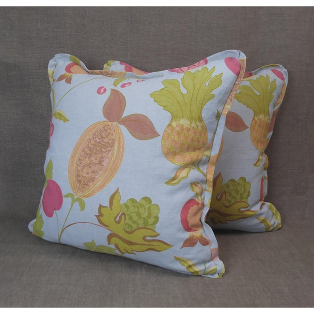 Raoul Textiles Throw Pillows in Miranda Linen Print - a Pair For Sale - Image 4 of 7