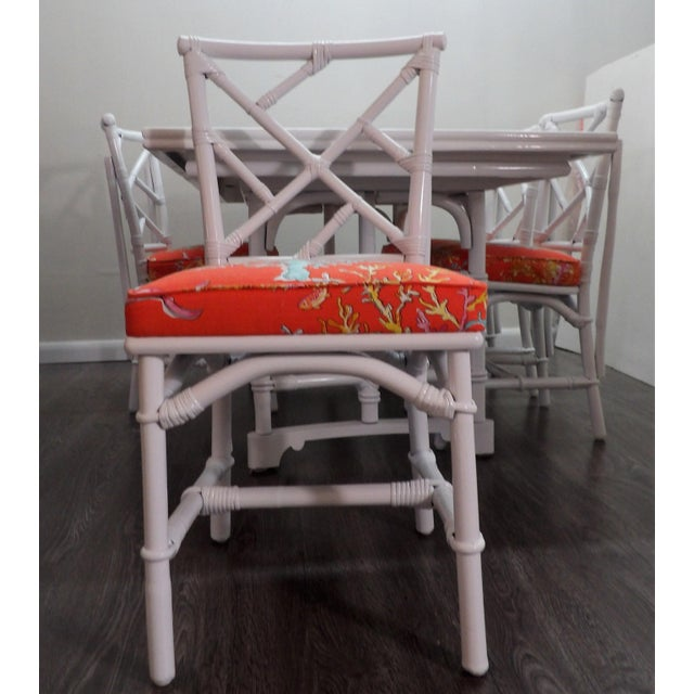 Chinoiserie Chinoiserie, Wrapped Bamboo Dining Set - 5 Pieces For Sale - Image 3 of 13
