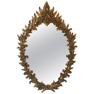 1960s Large Carved Giltwood Italian Floral Mirror For Sale