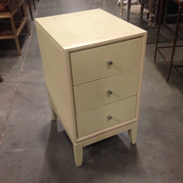 Bassett Taupe Wooden Side Table Chest - Image 2 of 6
