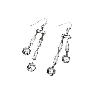 1920s Sterling Silver & Crystal Earrings For Sale
