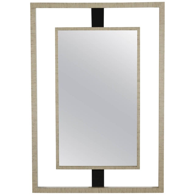 Paul Marra Negative Space Mirror with Horse Hair and Drybrush Patina For Sale