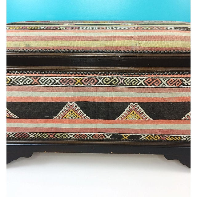 Boho Chic Antique Turkish Kilim Cedar Storage Trunk Bench For Sale - Image 3 of 10