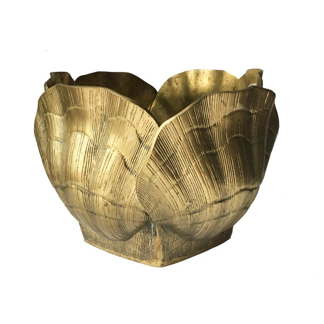 Vintage Large Shell Brass Planter or Cachepot - Image 2 of 7