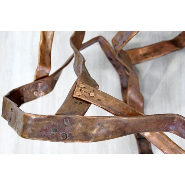 Metal Contemporary Forged Copper Abstract Table Floor Sculpture Signed Hansen 2019 For Sale - Image 7 of 8