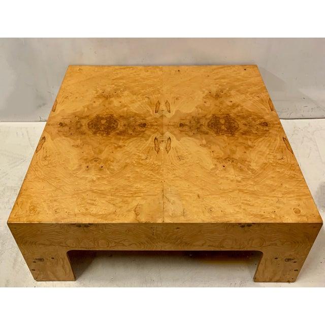 Milo Baughman Modern Burlwood Coffee Table Att. Milo Baughman For Sale - Image 4 of 4
