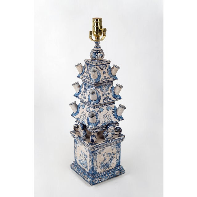 Rustic European Vintage Dutch Blue and White Style Pagoda Hand-Painted Table Lamp For Sale - Image 3 of 9