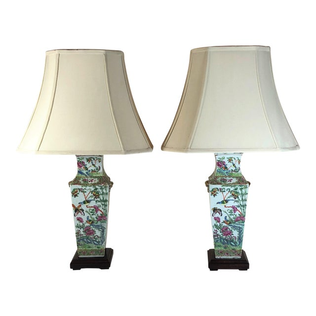 "Pair Antique Rose Medallion ""Canton"" Vases, Made Into Lamps. For Sale"
