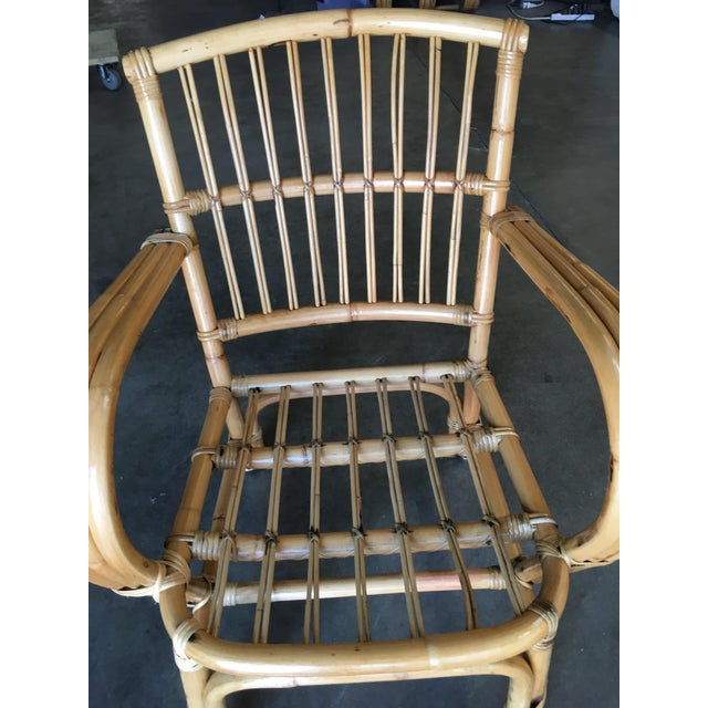 3-Strand Bentwood Rattan Armchair With Stick Rattan Back For Sale - Image 4 of 10