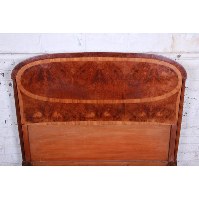 1930s French Art Deco Burl Wood and Inlaid Marquetry Full Size Bed Frame For Sale In South Bend - Image 6 of 8