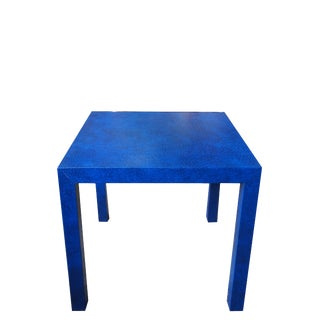 1980s Contemporary Blue Ostrich Leather Skin Modern Square Game/Side Table For Sale