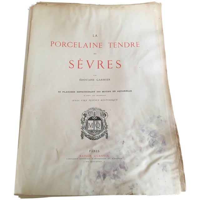 Porcelaine Tendre De Sevres, 36 Hand Colored and Gilded Plates, 1891-Folio For Sale
