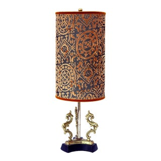Mid-Century Brass Dragon Lamp with Shade For Sale