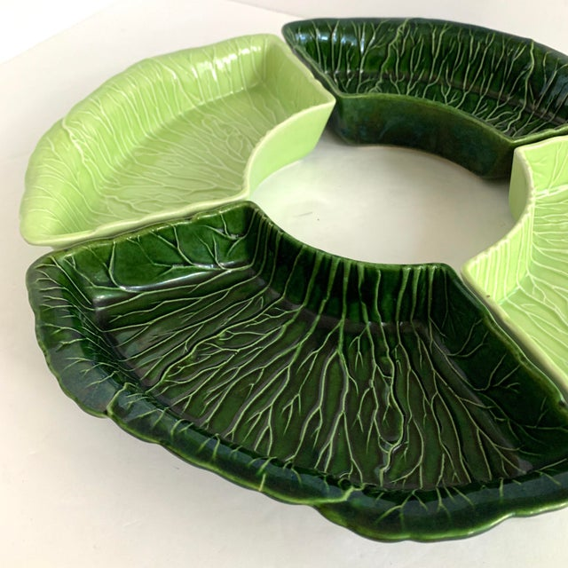 Mid 20th Century Vintage Majolica Cabbage Relish Dipping Set by Princeton For Sale - Image 5 of 13