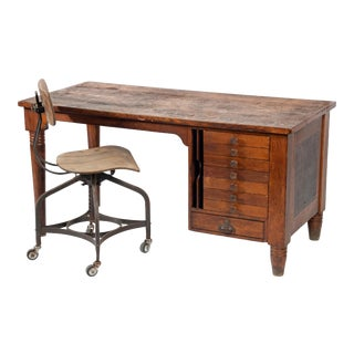 1920s Early American Quartersawn Oak Draftsman's Desk For Sale