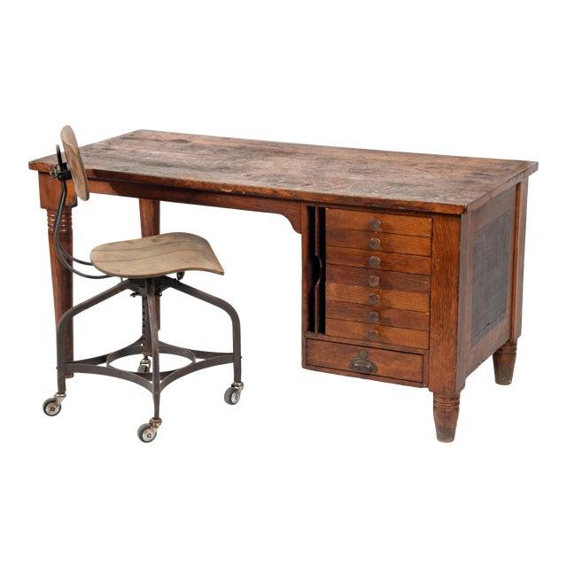 1920s Early American Quartersawn Oak Draftsman's Desk For Sale