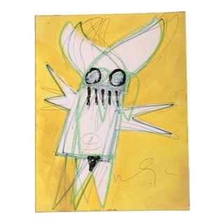 Original Vintage Wayne Cunningham Abstract Figure Oil & Pastel Painting For Sale
